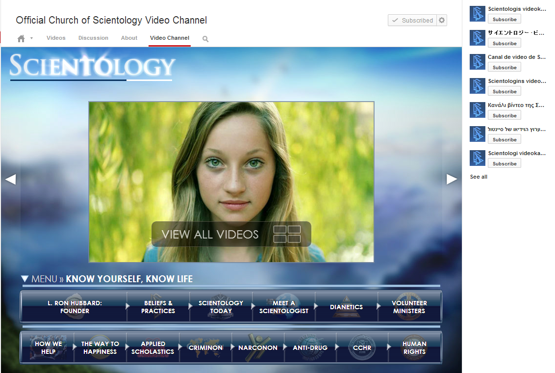 the church of scientology shares its beliefs on youtube real
