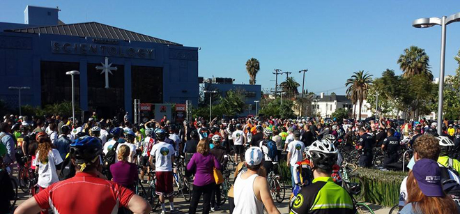 Getting ready for Finish The Ride at the Church of Scientology LA Parking Lot on Sunset Blvd.